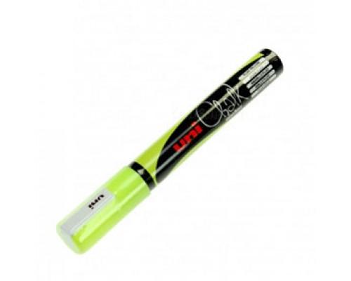 Маркер меловой UNI Chalk PWE-5M, 1,8-2,5мм, желтый неон
