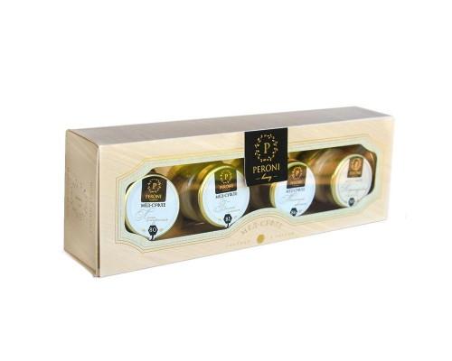 Мед-суфле Peroni-honey Naturel в картонной упаковке (4 баночки по 30 мл)