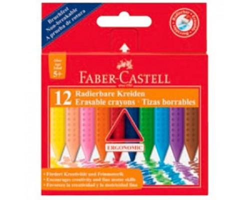 Мел восковой FABER CASTELL, трехгранный, 12 цв.