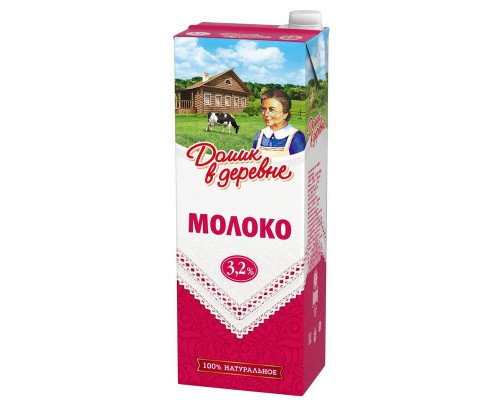 Молоко Домик в деревне стерилизованное 3.2% 1.45 кг