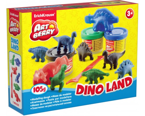 Пластилин на растит. основе Dino Land 3 бан/35г, разноцветн.