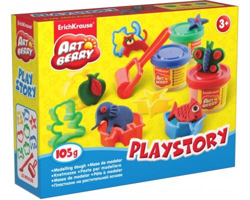 Пластилин на растит. основе Playstory 3 бан/35г, разноцветн.