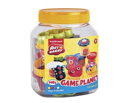 Пластилин на растит. основе Game Planet 4 бан/35г в пластик. банке, разноцветн.