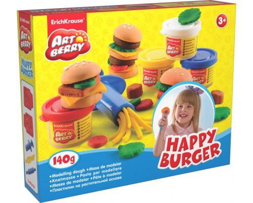 Пластилин на растит. основе Happy Burger 4 бан/35г, разноцветн.