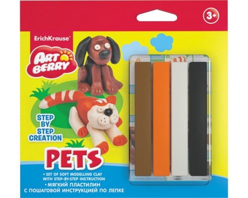 Пластилин мягкий 4цв+инструкция Pets Step-by-step Сreation Artberry, разноцветн.
