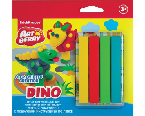 Пластилин мягкий 4цв+инструкция Dino Step-by-step Сreation Artberry, разноцветн.