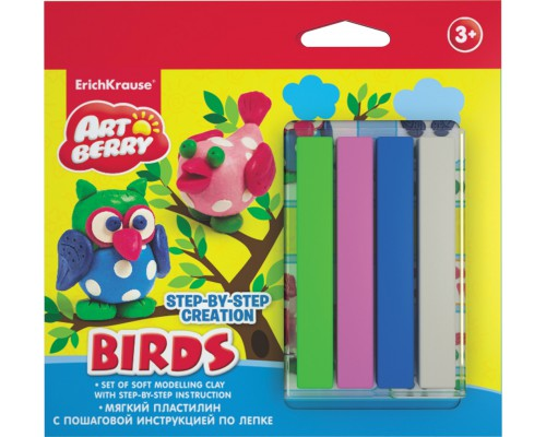 Пластилин мягкий 4цв+инструкция Birds Step-by-step Сreation Artberry, разноцветн.