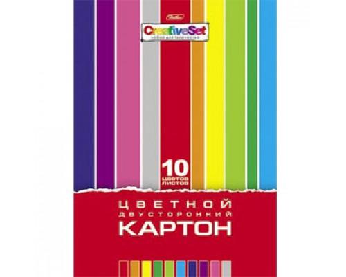 Набор картона А4 10л, 10цв, мелован., 2-сторон., HATBER Creative Set, цветной