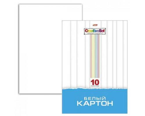 Набор картона А4 10л, мелован., HATBER Creative Set, белый