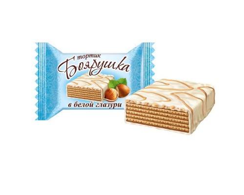 Вафельный тортик Боярушка в белой глазури 38 г (40 штук в упаковке)