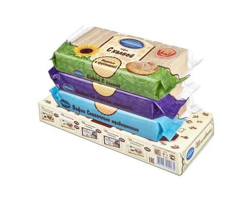 Вафли 3 вида (халва, сливочные, шоколад) 220 г +Торт топленное молоко 180 г