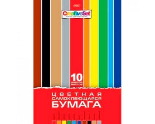 Набор цветной бумаги А4 10л 10цв, самоклеющаяся