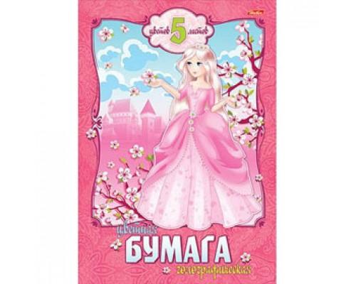 Набор цветной бумаги А4 5л, 5цв, голографическая, HATBER Принцесса, цветной