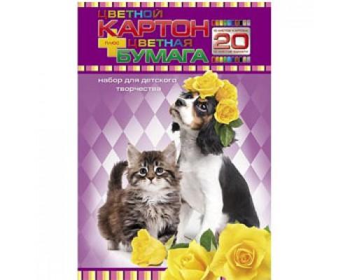 Набор картона и цветной бумаги А4 20л, 10цв+10цв, мелован., HATBER Забавные любимцы, цветной