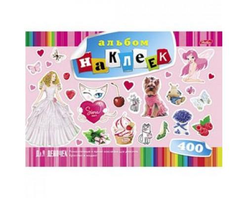 Альбом с наклейками А4, 12л., скрепка, 400 наклеек, HATBER, для девочек