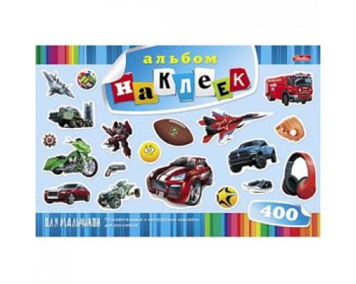 Альбом с наклейками А4, 12л., скрепка, 400 наклеек, HATBER, для мальчиков