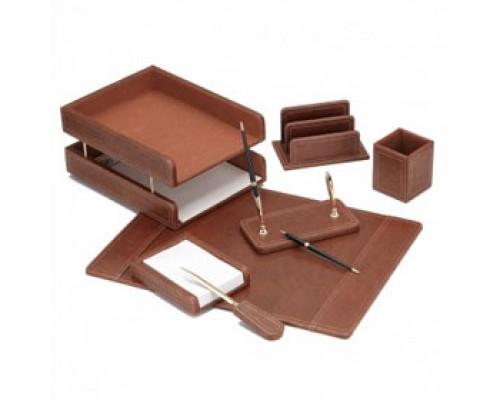 Набор настольный деревянный/кожзам 7 предметов, GOOD SUNRISE, коричневый