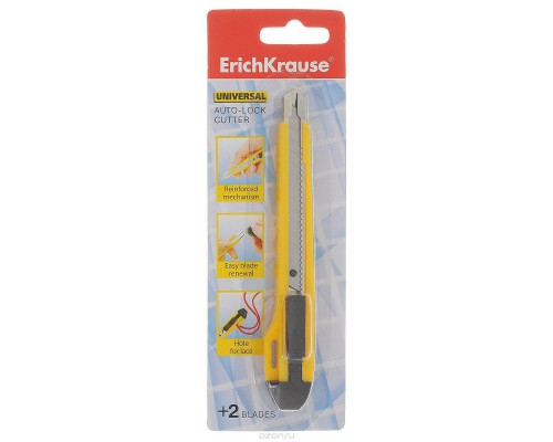 Нож канцелярский 9мм ERICH KRAUSE Universal Auto-Lock, желтый