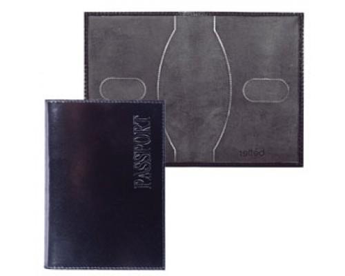 Обложка для паспорта натуральная кожа, тиснение, черный