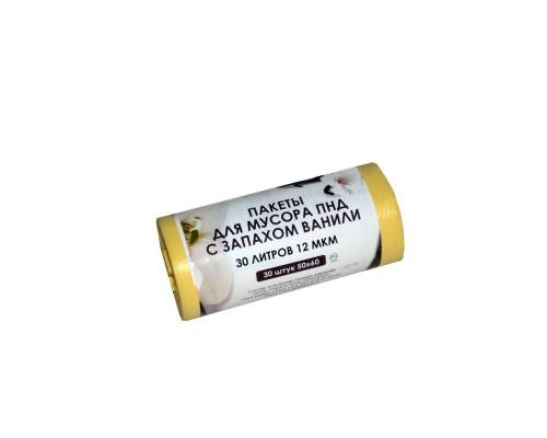 Мешки для мусора на 30 литров Знак Качества ароматизированные Ваниль желтые (12 мкм, в рулоне 30 штук 50х60 см)