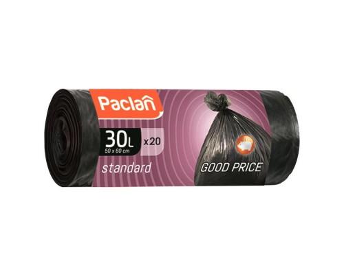 Мешки для мусора на 30 литров Paclan Standart черные (7.3 мкм, в рулоне 20 штук, 45x55 см)