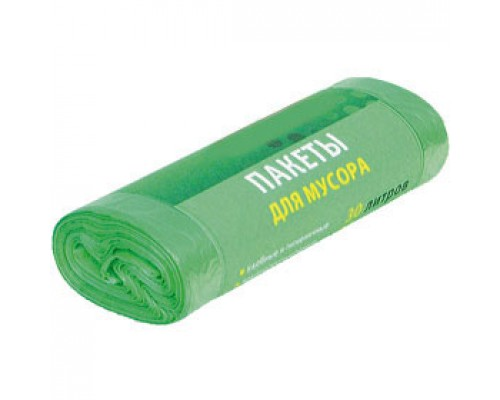 Пакет мусорный 60л, 30шт., зеленый