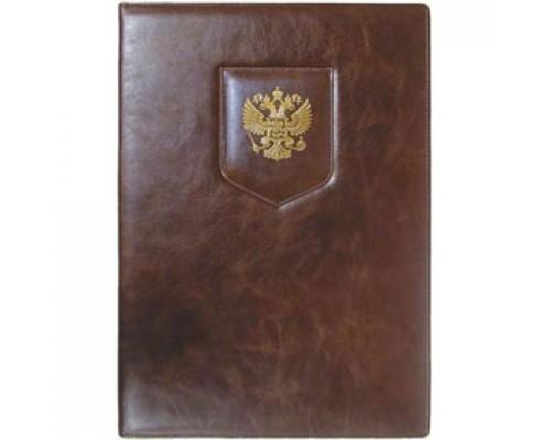 Папка адресная с гербом, тисненная нат. кожа, коричневый