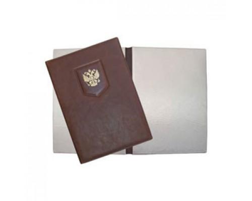 Папка адресная с гербом, гладкая нат. кожа, коричневый
