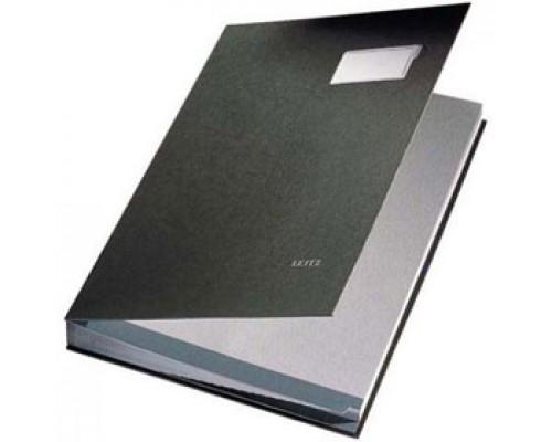 """Папка адресная """"На подпись"""", LEITZ, картон с ПВХ покрытием, 10 разделителей, черный"""