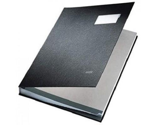 """Папка адресная """"На подпись"""", LEITZ, картон с ПВХ покрытием, 20 разделителей, черный"""