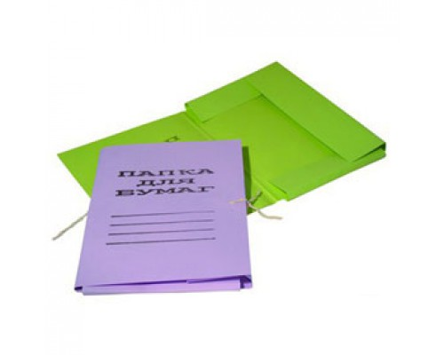 Папка с завязками 280г/м2 мелован. картон, ассорти