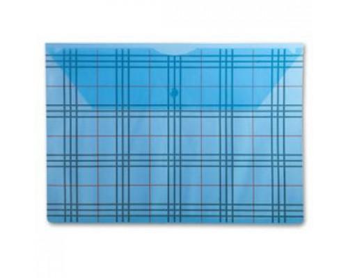 Папка-конверт на кнопке А4, 180мкр, клетка, БЮРОКРАТ, прозрачный синий
