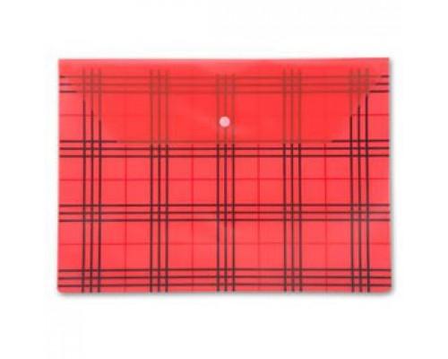 Папка-конверт на кнопке А4, 180мкр, клетка, БЮРОКРАТ, прозрачный красный