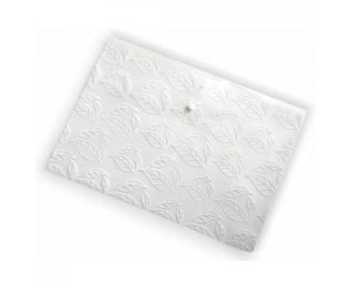 Папка-конверт на кнопке А4, 180мкр, листочки, БЮРОКРАТ, прозрачный