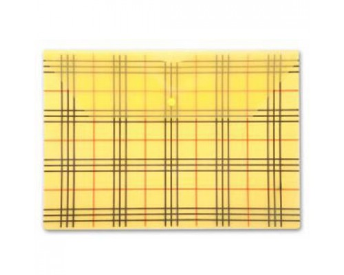 Папка-конверт на кнопке А4, 180мкр, клетка, БЮРОКРАТ, прозрачный желтый