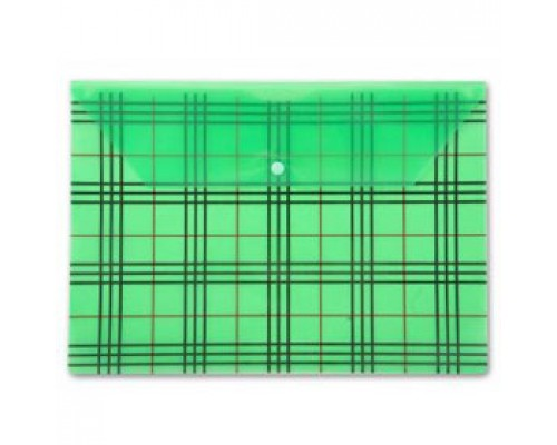 Папка-конверт на кнопке А4, 180мкр, клетка, БЮРОКРАТ, прозрачный зеленый