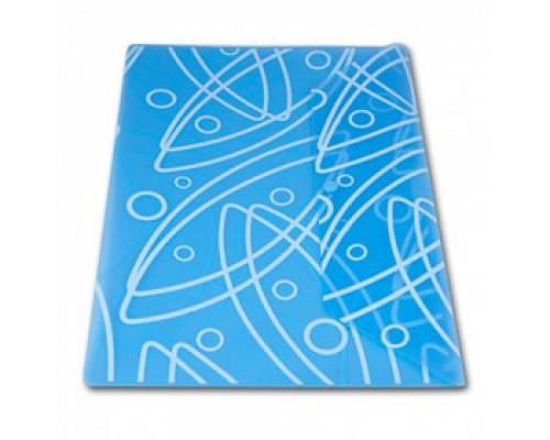 Папка-конверт на кнопке А4, 180мкр, абстракция, БЮРОКРАТ, прозрачный синий