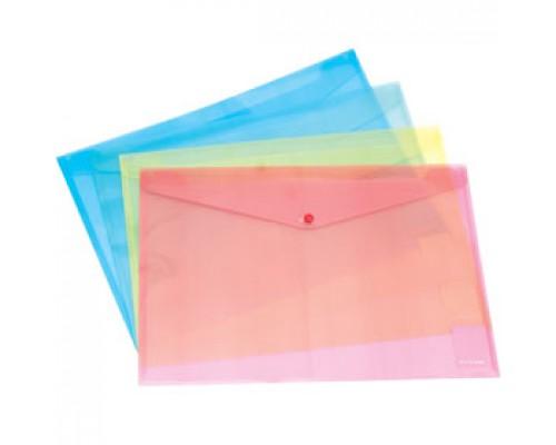 Папка-конверт на кнопке А4 ERICH KRAUSE Envelope, прозрачный ассорти