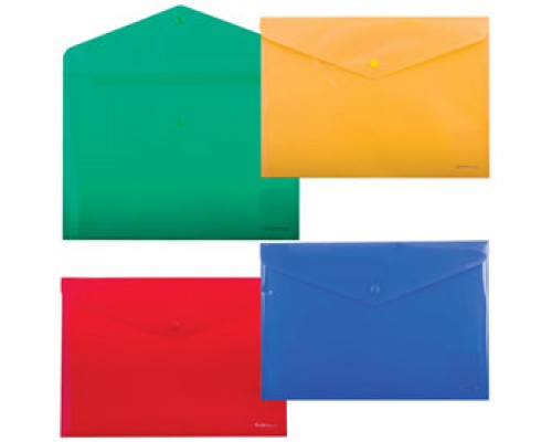 Папка-конверт на кнопке А4 ERICH KRAUSE Envelope, ассорти