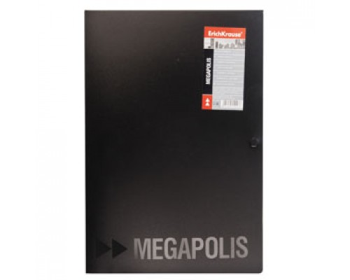 Папка-конверт на кнопке А4 ERICH KRAUSE Megapolis, 3 клапана, черный