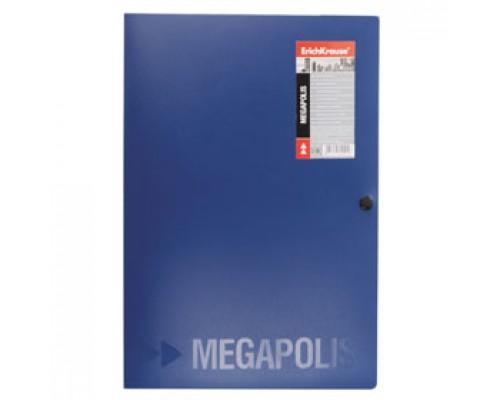 Папка-конверт на кнопке А4 ERICH KRAUSE Megapolis, 3 клапана, синий