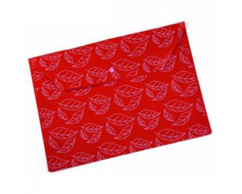 Папка-конверт на кнопке А4, 180мкр, листочки, БЮРОКРАТ, непрозрачный красный