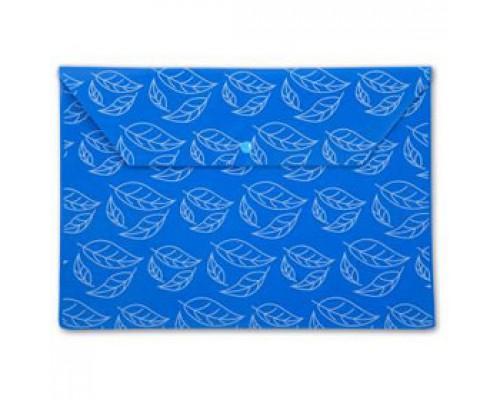Папка-конверт на кнопке А4, 180мкр, листочки, БЮРОКРАТ, непрозрачный синий