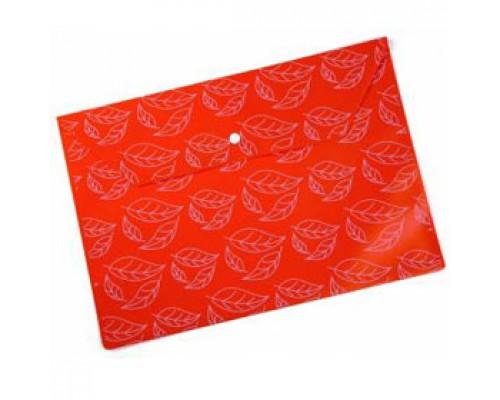 Папка-конверт на кнопке А4, 180мкр, листочки, БЮРОКРАТ, непрозрачный оранжевый