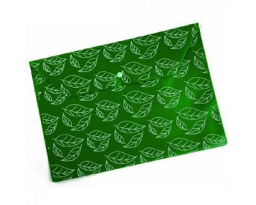 Папка-конверт на кнопке А4, 180мкр, листочки, БЮРОКРАТ, непрозрачный зеленый