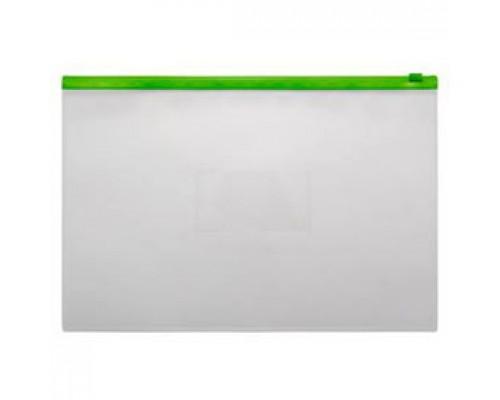 Папка-конверт на молнии А4, пластик, застежка по длинной стороне, зеленый