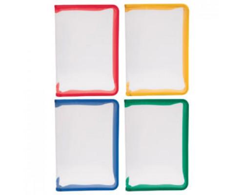 Папка-конверт на молнии А4 ERICH KRAUSE, пластик, прозрачный, ассорти