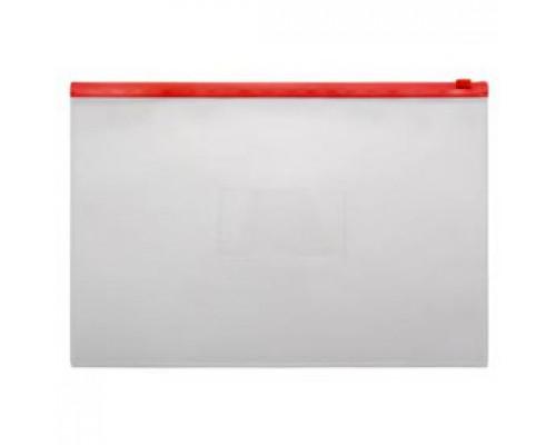 Папка-конверт на молнии А4, пластик, застежка по длинной стороне, красный