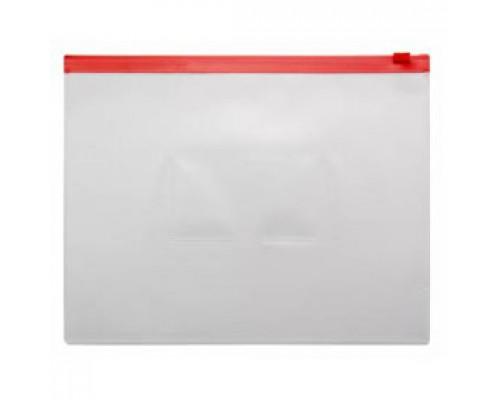 Папка-конверт на молнии А5, пластик, застежка по длинной стороне, красный