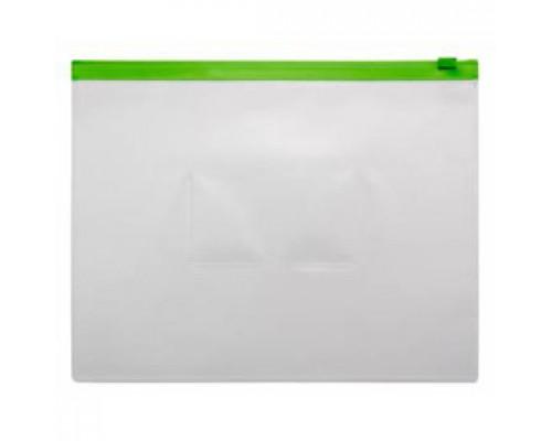 Папка-конверт на молнии А5, пластик, застежка по длинной стороне, зеленый